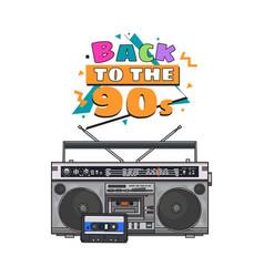 retro style audio tape recorder ghetto boom box vector image