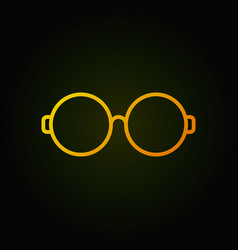 Round glasses yellow line icon on dark background vector