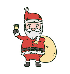 santa with bell and bag gifts celebration merry vector image