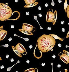 Seamless pattern pottery teapot and cup hand vector image