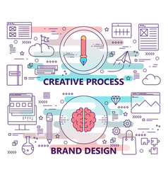 Set banners with creative process and vector