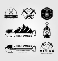 Set mining vintage logo emblem badge retro vector