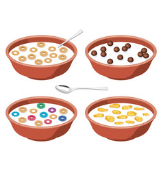 Set of bowls with breakfast cereal in milk vector