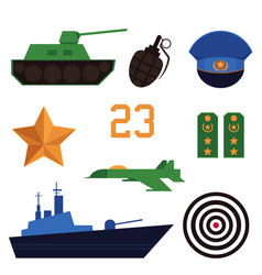 Set of defender of fatherland day holiday icons vector