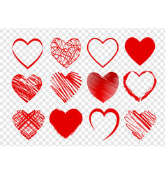 set of red hearts for valentines day on vector image