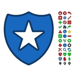 Shield Star Symbol With Toolbar Icon Set vector image
