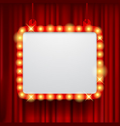 shining party banner on red curtain background vector image