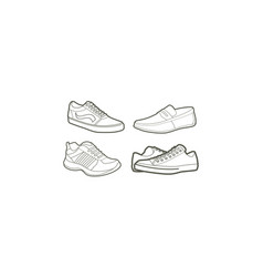 shoe line art logo icon vector image