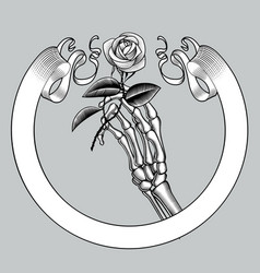skeleton hand holding a white rose and retro vector image