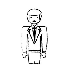 Sketch businessman male sad face vector