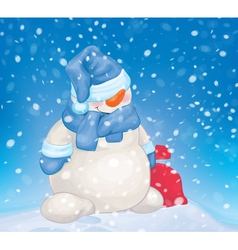 Snowman snowfall vector