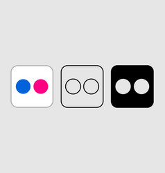 social media icon set for flickr in different vector image
