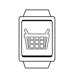 Square watch and shopping basket icon vector