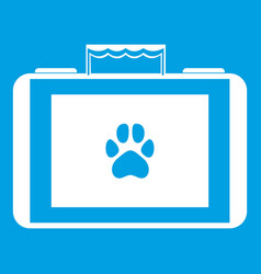 Suitcase for animals icon white vector