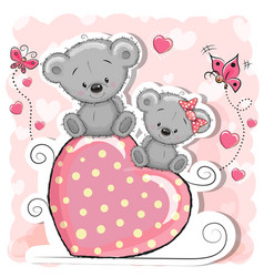Two bears is sitting on a heart vector