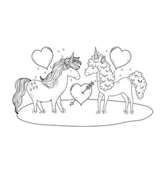 unicorns couple in the landscape characters vector image