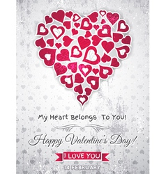 valentines day greeting card with white heart vector image