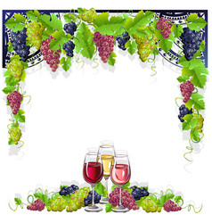 Vintage frame with wine and grapes vector