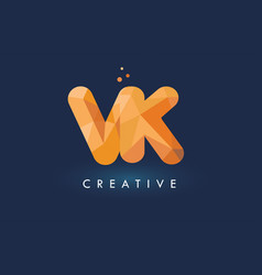 vk letter with origami triangles logo creative vector image