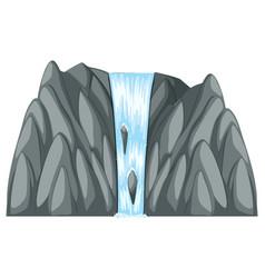 Waterfall coming down of gray rocks vector