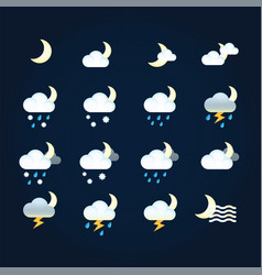 weather icons sun and clouds in night sky rain vector image