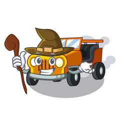 Witch jeep car toys in shape character vector