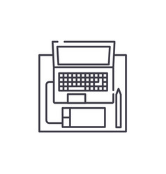 workplace with a laptop line icon concept vector image