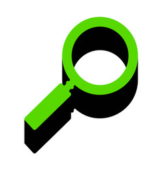 Zoom sign green 3d icon with vector