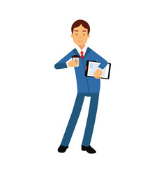 businessman cartoon character in a blue suit vector image vector image