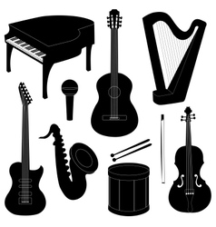 Set of musical instruments silhouettes vector image vector image