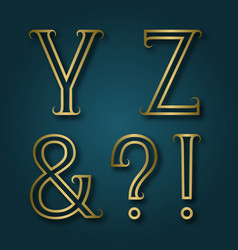 y z shiny golden letters ampersand exclamation vector image