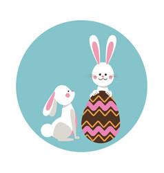 cute rabbits easter beauty egg vector image vector image