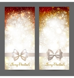 Two festive greeting cards with ribbon bow and vector image vector image