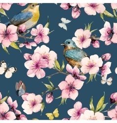 Watercolor sakura pattern vector image vector image