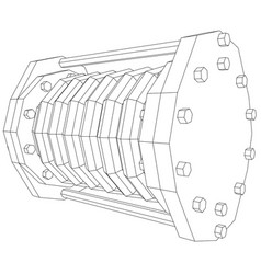 wire-frame industrial equipment oil flowmeter ep vector image vector image