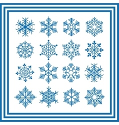 Blue snowflakes collection vector