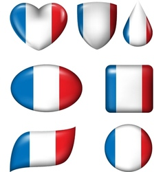 France flag in various shape glossy button vector image vector image