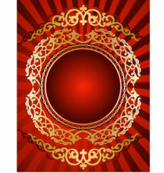 golden ornament on red background vector image vector image