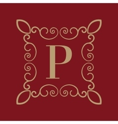 Monogram letter P Calligraphic ornament Gold vector image
