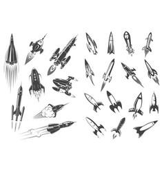 rockets spaceship cartoon retro icons set vector image