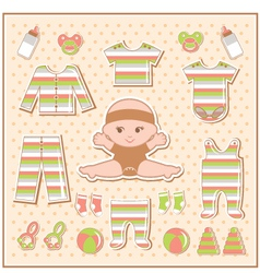 Scrapbook elements with baby clothes vector image vector image