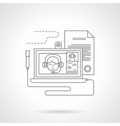 Distance learning detailed line icon vector image