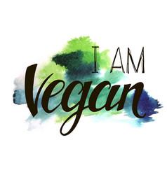 inscription i am vegan vector image vector image