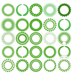 Set green laurel wreath on the white background vector image vector image