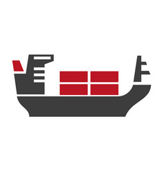 ship with baggage silhouette logo icon on vector image