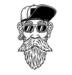 a head funny old biker design element vector image