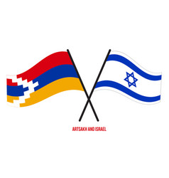 Artsakh and israel flags crossed and waving flat vector