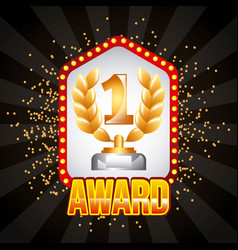 award winner number one laurel branch and lighting vector image