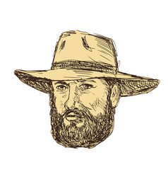 Bearded cowboy head drawing vector