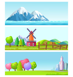 Beautiful cartoon flat landscapes set vector